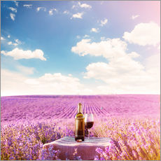 Gallery print  Red wine bottle and wine glass in lavender field