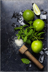 Wall sticker  Mojitos (ice cubes, mint, sugar and lime)