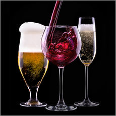 Gallery print  drinks - beer, wine and champagne