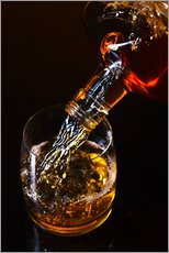 Gallery print  whiskey and ice on a glass table