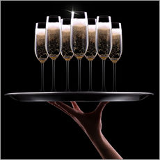 Wall sticker hand with champagne