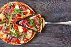 Gallery Print  Pizza with salami and arugula