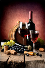Wall sticker  Red wine with grapes and corks