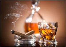 Wall Stickers  Glass of whiskey and a cigar