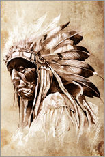 Wall sticker  Native American elder
