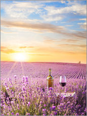 Wall sticker  Bottle of wine in a lavender field