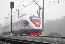 High-speed train in the fog