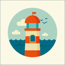 Wall Sticker Lighthouse in a circle