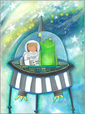 Gallery print  The little astronaut and his friend in a spaceship - Atelier BuntePunkt