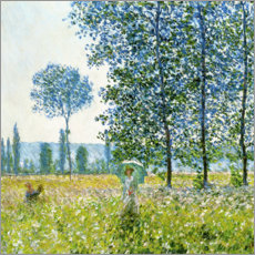 Wood print  Under the poplar trees - Claude Monet