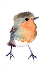 Wall sticker  Baby robin in watercolour - Verbrugge Watercolor