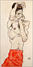 Wall sticker  Male nude, standing, with red loincloth - Egon Schiele