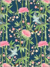 Wall sticker  bamboo birds and blossoms on teal - Micklyn Le Feuvre