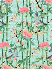 Wall sticker  bamboo birds and blossoms on mint - Micklyn Le Feuvre