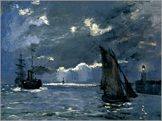 Gallery print  Ships in Moonshine - Claude Monet