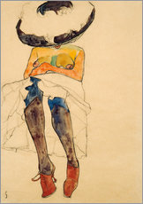 Wall sticker  Nude with hat - Egon Schiele