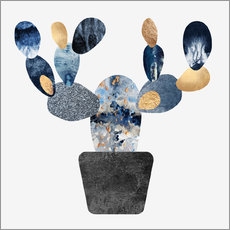 Wall Stickers Blue And Gold Cactus