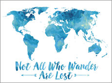 Mod Pop Deco - World Map Watercolor Blue