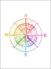Gallery Print  Compass Watercolor - Mod Pop Deco