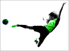 Female Footballer jumping