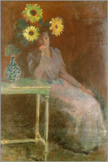 Wall sticker Sedentary woman next to a vase with sunflowers