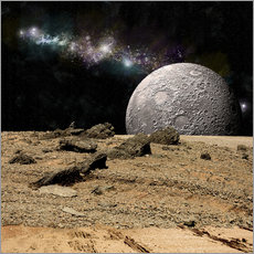Gallery print  A moon rises over a rocky and barren alien landscape. - Marc Ward