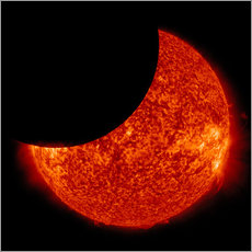 Wall sticker  A partial solar eclipse from space.