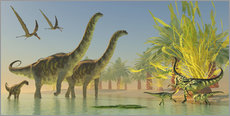 Gallery print  Deinocheirus dinosaurs watch a group of Argentinosaurus walk through shallow waters. - Corey Ford
