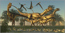 Wall sticker  A pack of Dilophosaurus dinosaurs hunting for prey. - Corey Ford