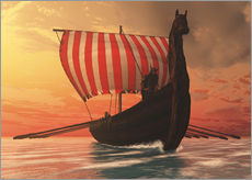Gallery Print  A Viking longboat sails to new shores - Corey Ford