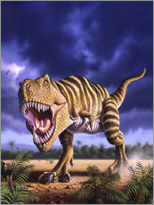 Gallery print  A Tyrannosaurus Rex attacks, lit by the late afternoon sun. - Jerry LoFaro