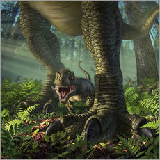 Gallery print  A baby Tyrannosaurus Rex roars while safely standing between it's mother's legs. - Jerry LoFaro