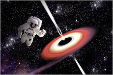 Wall sticker  Artist's concept of an astronaut falling towards a black hole in outer space. - Marc Ward