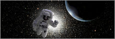 Wall sticker  Astronaut floating in deep space with an Earth-like planet in background. - Marc Ward