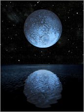 Gallery print  A blue moon rising over a calm alien ocean with a starry sky as a backdrop. - Marc Ward