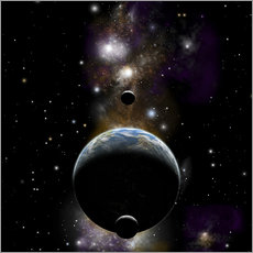 Wall sticker  An Earth type world with two moons against a background of nebula and stars. - Marc Ward