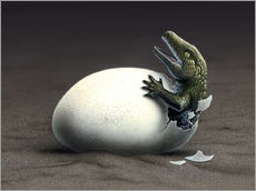 Gallery Print  An early dinosaur ancester, Seymouria, hatches from an egg. - Jerry LoFaro