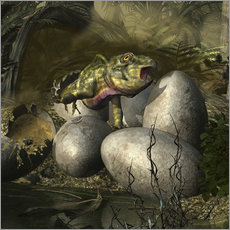 Gallery print  Udanoceratops hatching out of an egg. - Kurt Miller