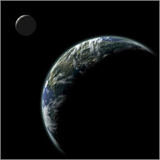 Gallery print  An Earth-like planet with an orbiting moon illuminated by a nearby sun. - Marc Ward