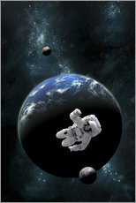 Gallery print  An astronaut floating in front of a water covered world with two moons. - Marc Ward