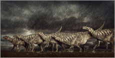 Wall sticker  A group of Iguanodons struggle through a storm. - Philip Brownlow