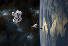 Gallery Print  An astronaut drifting in space is rescued by a space shuttle orbiting Earth. - Marc Ward