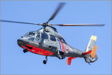 Gallery Print  French Navy AS365 Dauphin helicopter in flight over France. - Timm Ziegenthaler