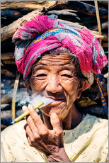 Gallery Print  Portrait of old woman smoking cigar, Myanmar, Asia - Matteo Colombo