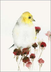 Wall Stickers Yellow Bird and Flowers