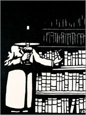 Gallery print  A booklover holding a lamp as he takes a book from his library - Felix Edouard Vallotton
