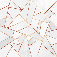 Wall Sticker  White Stone and copper Lines - Elisabeth Fredriksson