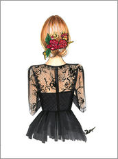 Gallery Print  Black Lace and Rose - Rongrong DeVoe