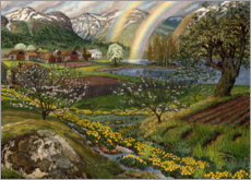 Premium poster Buttercups and rainbow