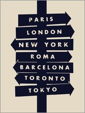 Wall sticker  City signs travel locations art print - Nory Glory Prints